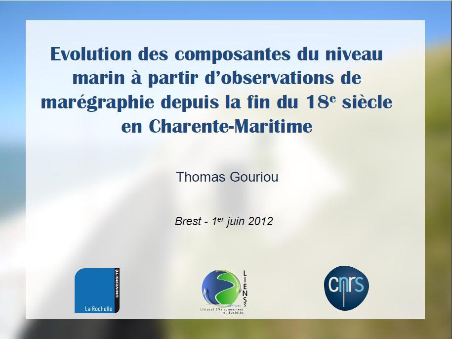 Copie écran diapo 1 présentation des travaux de thèse de Thomas Gouriou (2012)