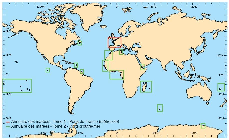Couverture géographique des annuaires des marées du SHOM avec en rouge les prédictions fournies dans le tome 1 et en vert les prédictions founies dans le tome 2