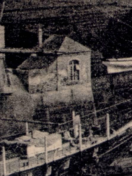 Détail de la carte postale ancienne avec l'observatoire marégraphique : l'observatoire du niveau de la mer à Brest