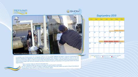 """Calendrier REFMAR Septembre 2013. Version """"papier peint bureau ordinateur"""".  Comment contrôler un marégraphe ?"""