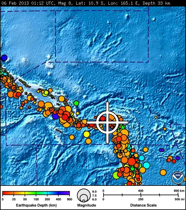 Source : Pacific Tsunami Warning Center