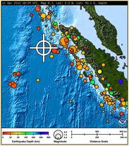Location and information concerning the earthquakes off the coast of Sumatra on 12/04/2012
