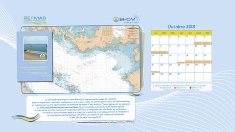 """Calendrier REFMAR Octobre 2013. Version """"papier peint bureau ordinateur"""". Définition du zéro hydrographique ou zéro des cartes marines"""