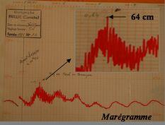 Marégramme (source IGN) : Visualisation des effets de la tempête