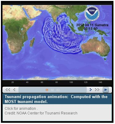 Click on the link to view the propagation of the tsunami generated by the earthquake on 11/04/2012 off the coast of Sumatra (Photo credits NOAA)