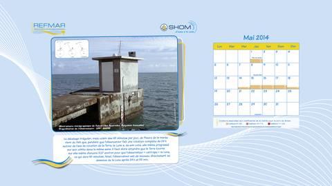 """Calendrier REFMAR mai 2014. Version """"papier peint bureau ordinateur"""" : Origine du décalage irrégulier de l'heure de la marée jour après jour"""