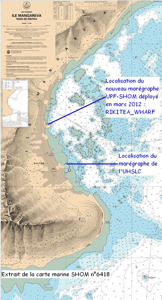 Localisation des marégraphes situés dans l'anse de Rikitea (Extrait de la carte SHOM n°6418)